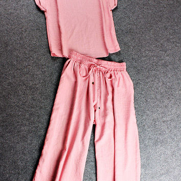Casual Pink T-Shirt And Trouser Set