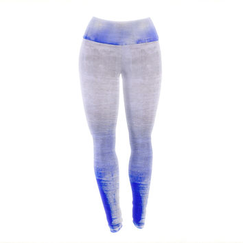 "Iris Lehnhardt ""Blue & Lavender"" Blue White Yoga Leggings"