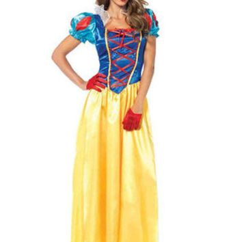 DCCKLP2 2PC.Classic Snow White,long dress with matching bow headband in MULTICOLOR