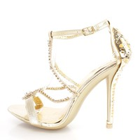 Gold Rhinestone Strappy Single Sole Heels Faux Leather