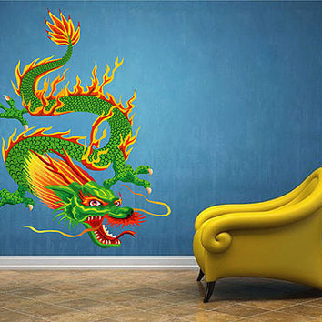 kcik1629 Full Color Wall decal Japanese dragon mythical creature living room bedroom