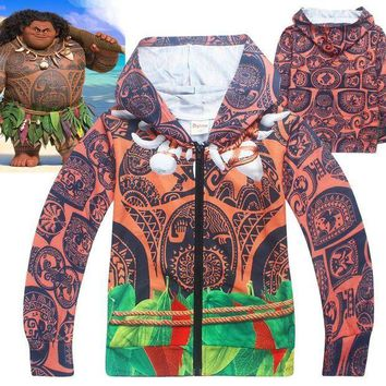 PEAPON Child Boys Summer Hoodie Halloween Funny Costume Jacket Moana Maui Cosplay Fancy Zip Sweatshirt Cool Clothes Gift For Kids 4-10T