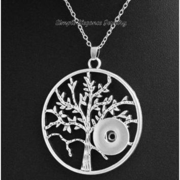 "Large Tree Of Life Pendant Snap Necklace 20mm-Single Snap Necklace-2"" Across"
