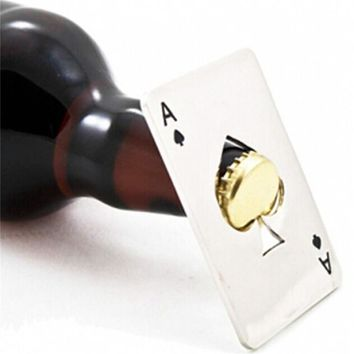 Creative Poker Card Beer Bottle Opener Practical Funny Stainless Steel Credit Card Bottle Opener Card of Spades Bar Tools D0087