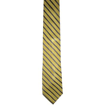 Joseph Abboud Striped Short Narrow Silk Tie - Yellow