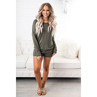 Ya Snooze Ya Lose Two Piece Set (Olive)