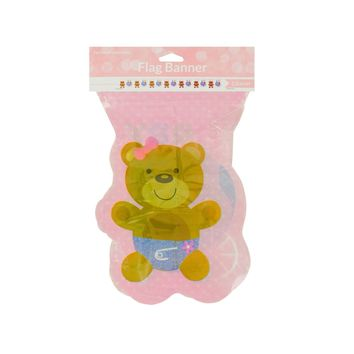 Pink Teddy Bear Flag Party Banner Case Pack 24