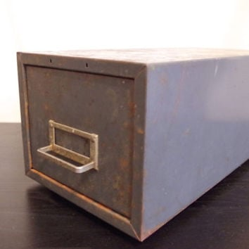 metal file cabinet // blue industrial card catalog // metal file drawer // card file box