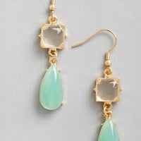 ModCloth Pastel Droplets of Dew Earrings in Mint