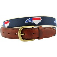 NC Traditional Leather Tab Belt in Navy Ribbon with White Canvas Backing by State Traditions