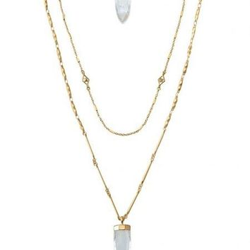 2016 Brand  New Style Fashion Summer Jewelry Layered Crackled Quartz Stones Dot Aria Pendant Necklace Gold N3128