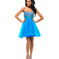 Turquoise & Royal Sequin & Tulle Strapless Sweetheart Empire Waist Homecoming Dress - Unique Vintage - Prom dresses, retro dresses, retro swimsuits.