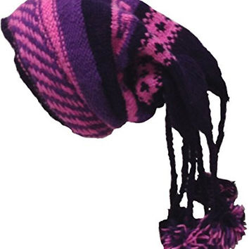 Nepal Hand Knit Sherpa Hat with Ear Flaps, Trapper Ski Heavy Wool Fleeced Lined Cap (purple & pink)