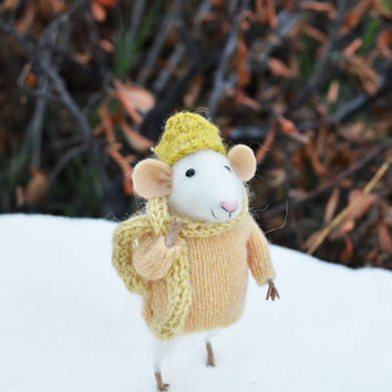 NEW - Little Winter Mouse- Original artwork designed and created by Johana Molina- by Felting Dreams