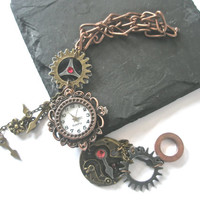 Watch Bracelet Steampunk Watch jewelry Fantasy Victorian cogs hands gears charms Swarovski crystal Siam and Light Siam Red Burgundy