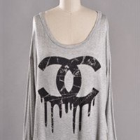 LONG SLEEVE DRIPPING CC TOP GRAY