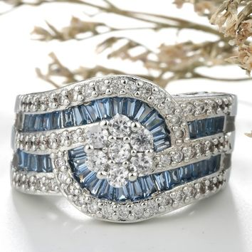 Luxury Antique Style 925 Sterling Silver Imitation White Topaz & Blue Sapphire Engagement Wedding Solitaire Ring