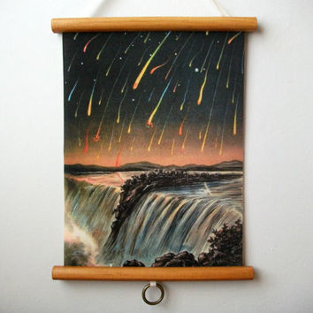 "Mini Vintage ""Pull Down"" Educational Chart Style Wall Hanging Print on Fabric with Stained Wood Trim - Meteor Shower"