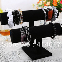2-Tier Black Velvet Jewelry Bracelet Bangle Watch Display Stand Holder T-bar Freeshipping Dropshipping