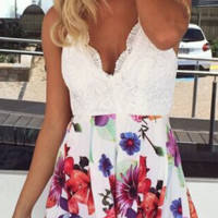 Claire Backless Floral Playsuit - Rompers and Jumpsuits - Clothing