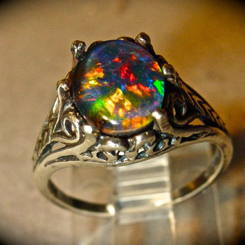 Opal Engagement Ring.Spectacular Genuine Australian Natural Opal ring.Large 10x8mm Real Opal Triplet Gemstone.Filigree Sterling Silver/Gold
