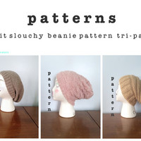 PATTERN PACK Knit Slouchy Beanie Patterns - Knitting Patterns - Slouch Hat Pattern - Mens Beanie Pattern - Womens Beanie Patterns