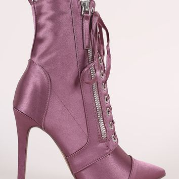 Satin  Lace-Up Stiletto Booties