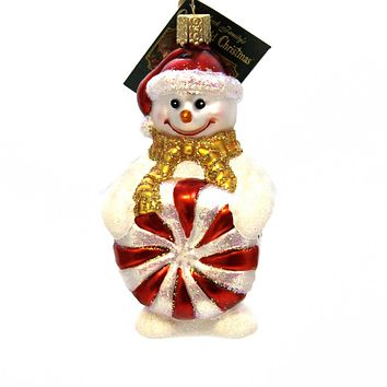 Old World Christmas Glistening Peppermint Snowman Glass Ornament