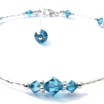 "Handmade ""Whispers"" Sterling Silver Ankle Bracelet  -  Birthmonth  Blue Zircon December"
