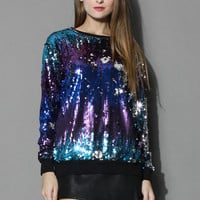 Dazzling Rainbow Sequins Sweat Top Multi S/M
