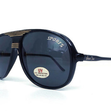 vintage 80's deadstock aviator sunglasses black plastic frame dark lenses sun glasses eyewear oversized men women retro gold lines sport 139