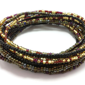 Seed bead wrap stretch bracelets, stacking, beaded, boho anklet, bohemian, stretchy stackable multi strand, black brown gold yellow maroon