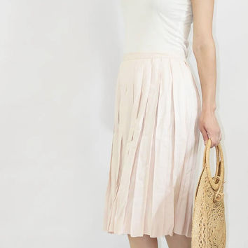 Pleated Linen Soft Blush Pink Skirt by SalvatoCollection on Etsy