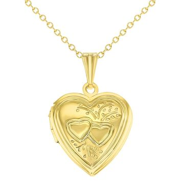 Gold Tone Small Love Double Heart Photo Locket Pendant Necklace 19""