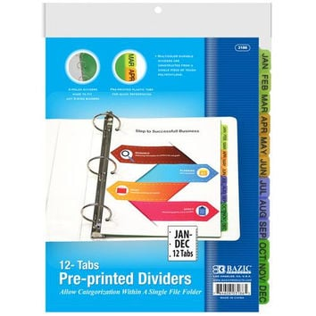 BAZIC 3-Ring Binder Dividers w/ 12-Preprinted Jan-Dec Tab