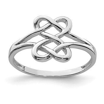 Sterling Silver Double Heart Love Knot Ring