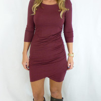 Ruched Side Wrap Dress: Wine