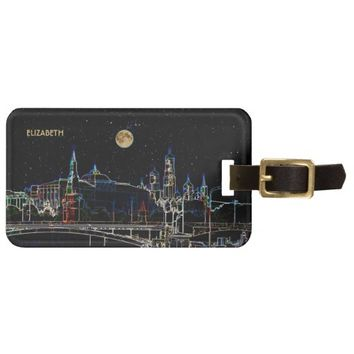 Moscow Kremlin Skyline At Night With Full Moon Luggage Tag