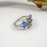 Sapphire Blue Cocktail Ring, Crystal Ring, Swarovski Crystal Ring, Stretch Ring, Stretch Band Ring, Stretchy Ring, Womens Jewelry