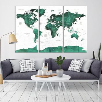 99579 - World Map Wall Art - World Map Push Pin Travel- Push Pin World Map- World Travel Map- Push Pin Map Canvas- Travel Map Canvas- Travel Map Art