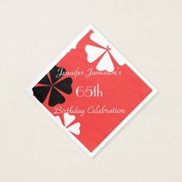 Red Floral Personalized 65th Birthday Party Paper Napkin