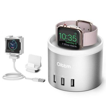 Oittm Apple Watch Series 3 Stand [3 In 1 Bracket Power Dock] 4 Port Usb Fitbit Blaze Charging Stand With Phone Holder For Iphone X Iphone8 8 Plus 7 7 Plus 6 Plus Iwatch 3/2/1 (silver)