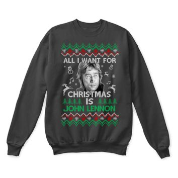KUYOU All I Want For Christmas Is John Lennon The Beatles Ugly Sweater