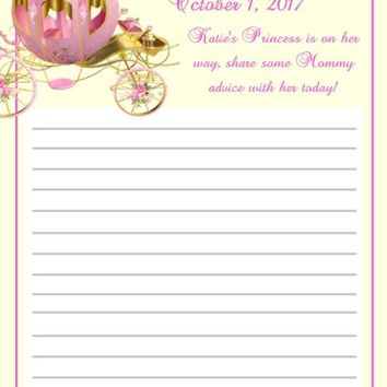 10 Princess Baby Shower Advice Cards Carriage