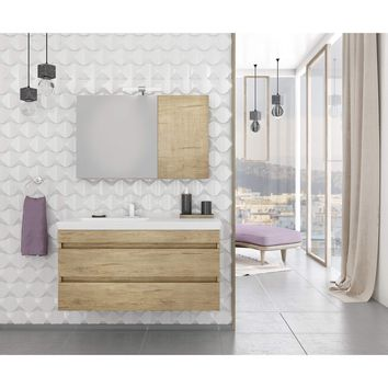 "DP Wall Bath Vanity Cabinet Set 39.4"" Single Sink W/ Laminated PL Wood Finish"