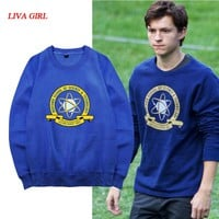 [Stock]Movie Spiderman Homecoming Blue Fleece Pullover Peter cosplay Sweatshirt Unisex S-2XL Free shipping