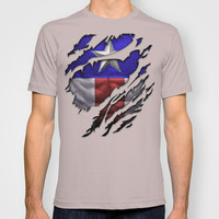 the avengers Captain America Steve Rogers torn unisex adult, kids and baby tee T-shirt by Three Second