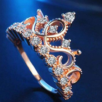 Woman's Crown Design Zircon Ring