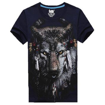 Wolf Face With Tribal Headdress Animal Print Graphic Tee in Navy