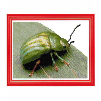 Green Bug Insect Cross Stitch Pattern
